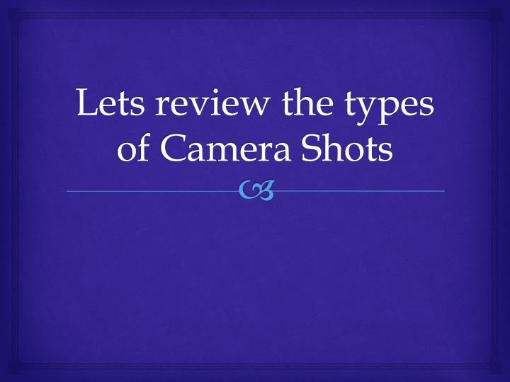 lets review the types of camera shots n.