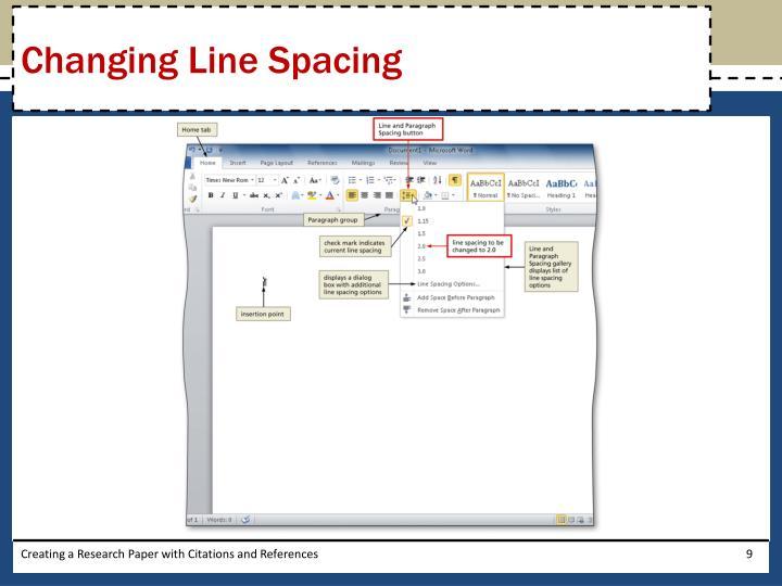 Changing Line Spacing