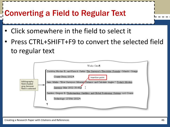 Converting a Field to Regular Text