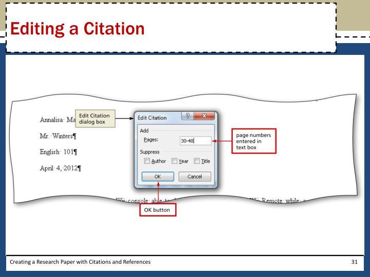Editing a Citation