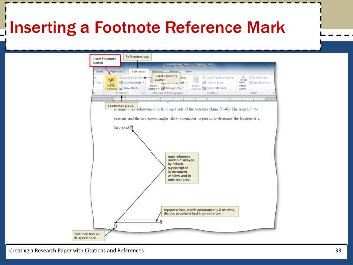 Inserting a Footnote Reference Mark