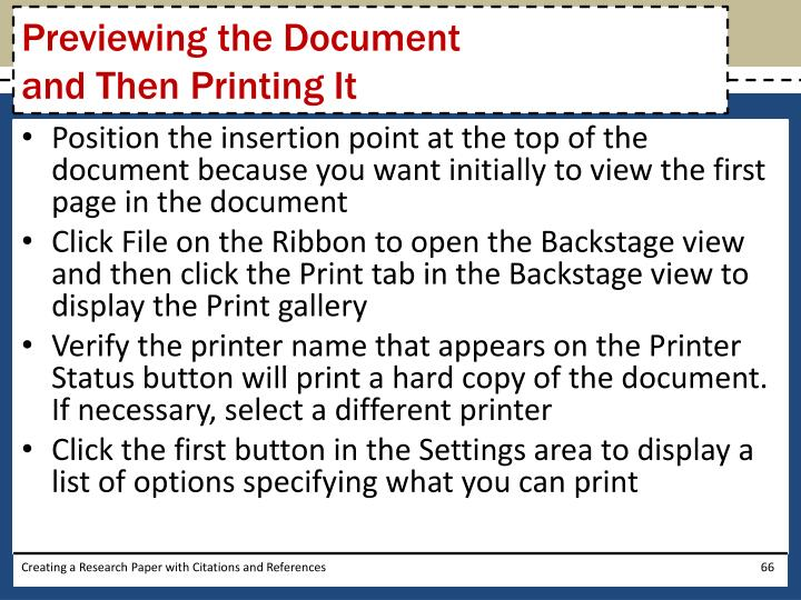 Previewing the Document