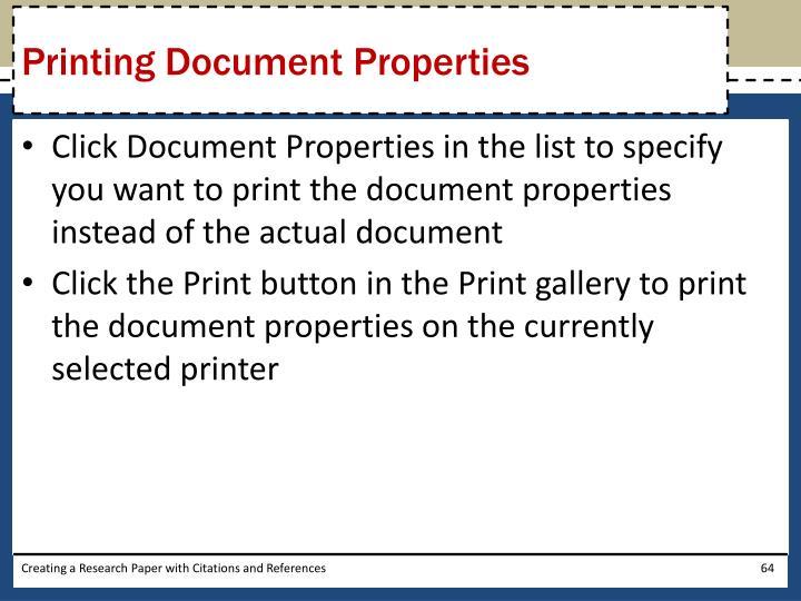 Printing Document Properties