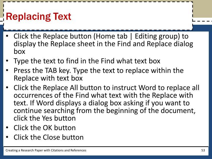 Replacing Text