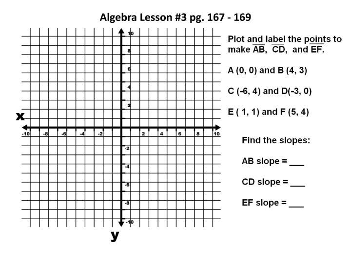 Algebra Lesson #3 pg. 167 - 169