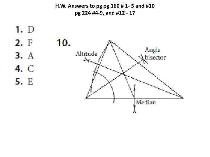 H w answers to pg pg 160 1 5 and 10 pg 224 4 9 and 12 17