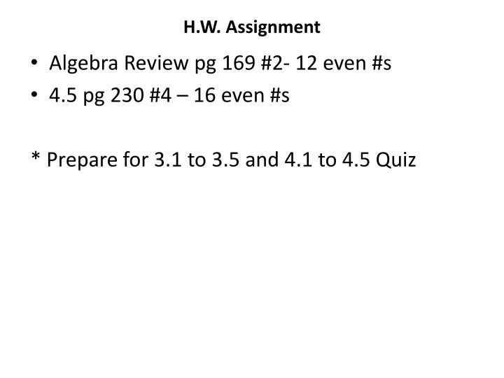 H.W. Assignment
