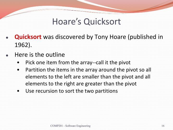 Hoare's Quicksort