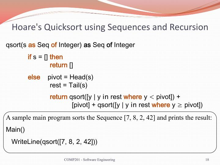 Hoare's Quicksort using Sequences and Recursion
