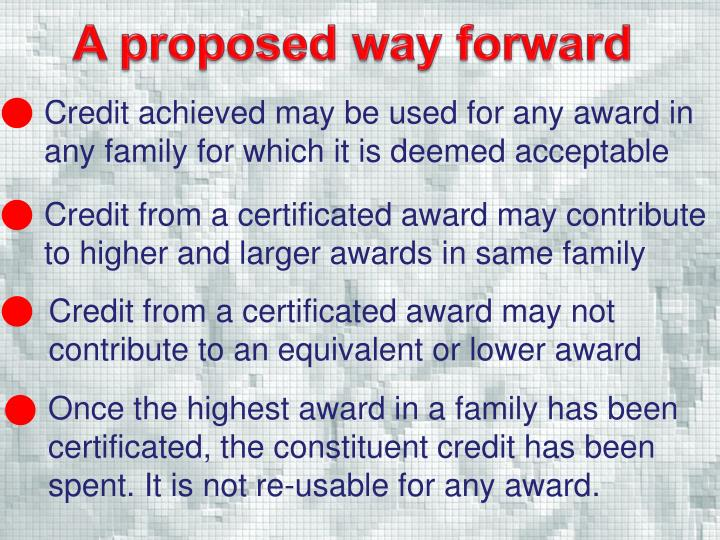 A proposed way forward