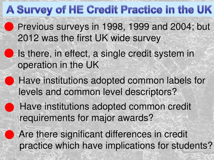 A Survey of HE Credit Practice in the UK