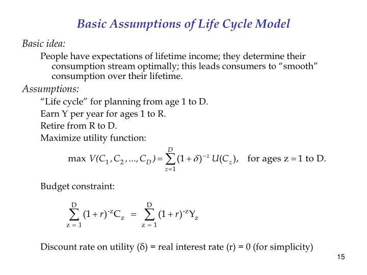 Basic Assumptions of Life Cycle Model