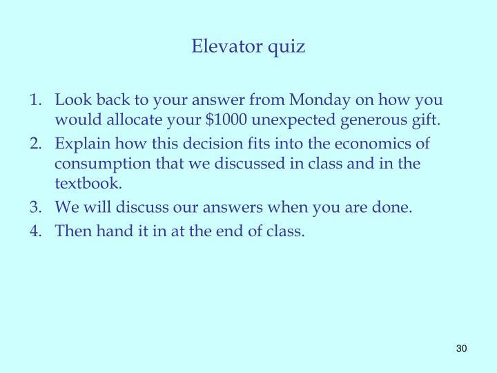 Elevator quiz
