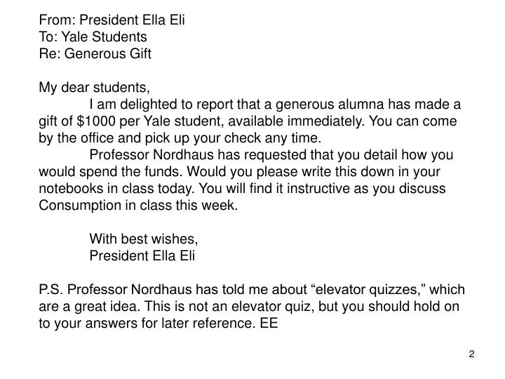 From: President Ella Eli