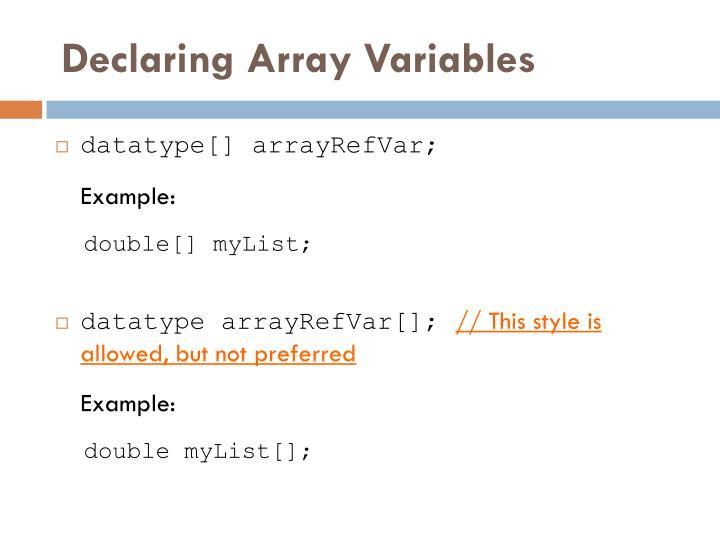 Declaring Array Variables