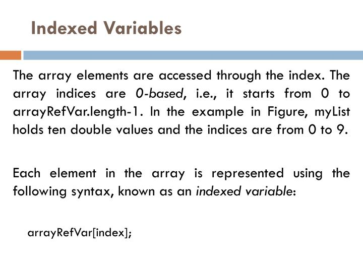 Indexed Variables