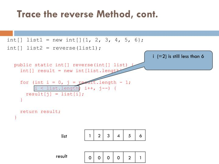 Trace the reverse Method, cont.