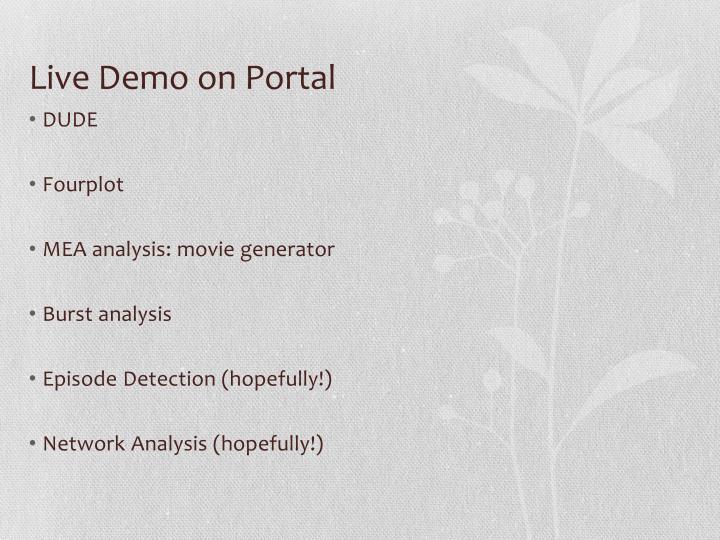 Live Demo on Portal