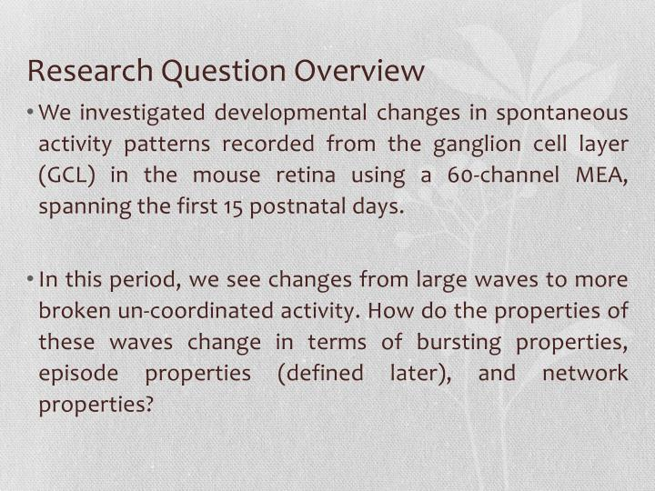 Research question overview