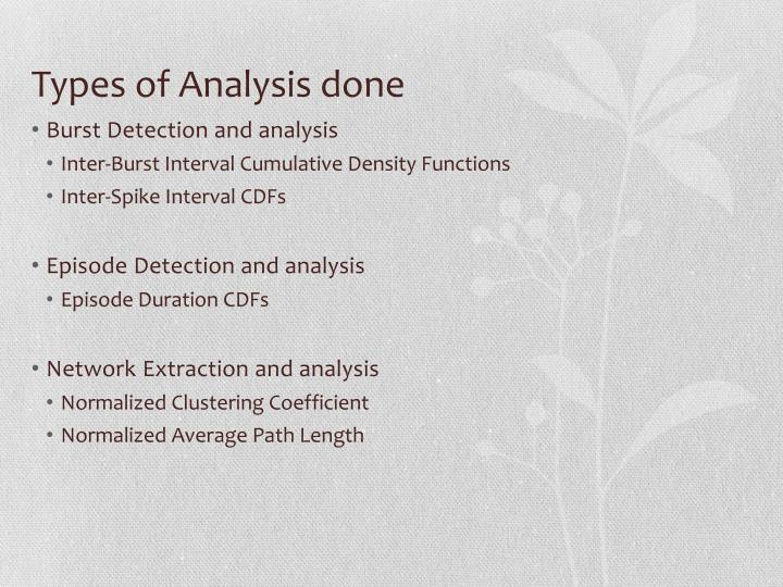 Types of Analysis done