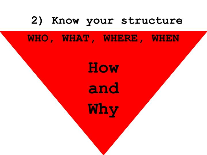 2) Know your structure