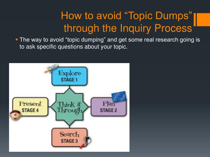 "How to avoid ""Topic Dumps"" through the Inquiry Process"