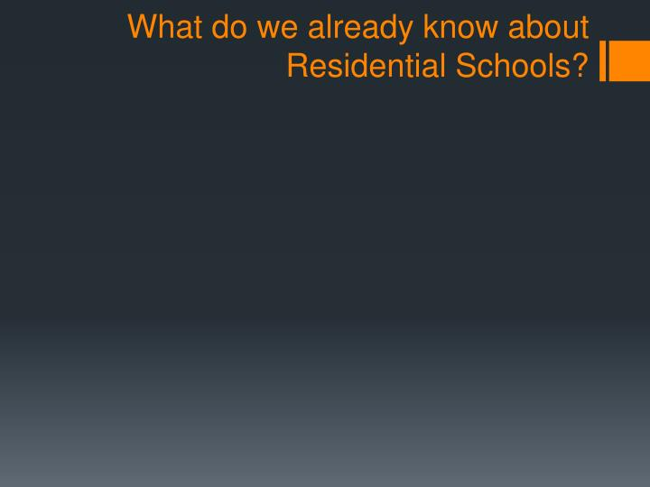 What do we already know about Residential Schools?