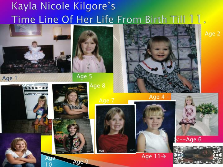 kayla nicole kilgore s time line of her life from birth till 11 n.
