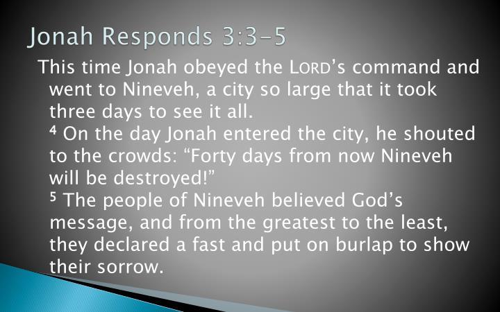 Jonah Responds 3:3-5