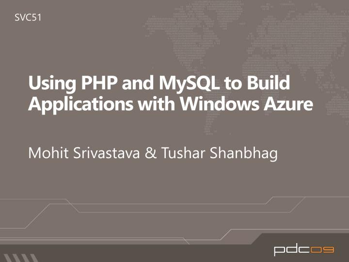 using php and m y sql to build applications with windows azure n.