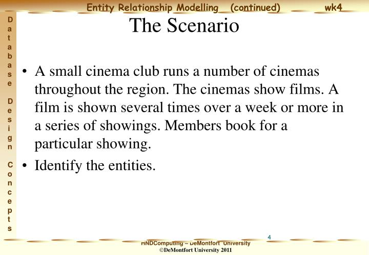 A small cinema club runs a number of cinemas throughout the region. The cinemas show films. A film is shown several times over a week or more in a series of showings. Members book for a particular showing.