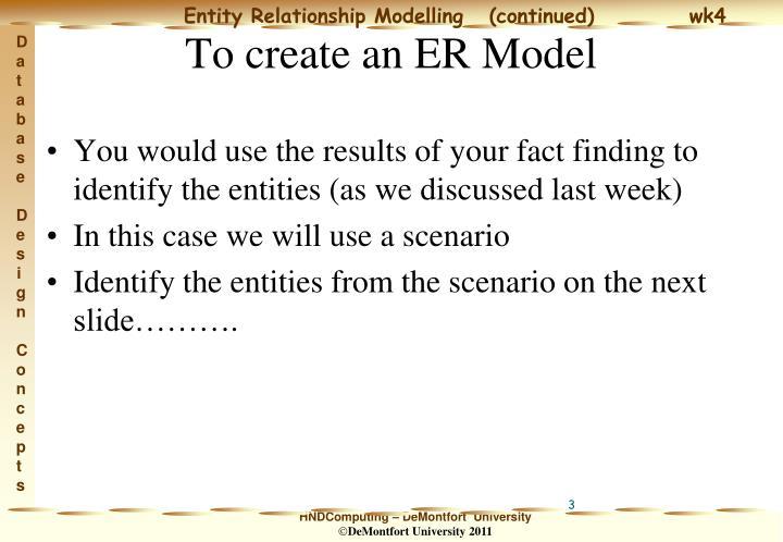 To create an er model