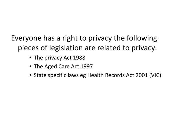 Everyone has a right to privacy the following pieces of legislation are related to privacy