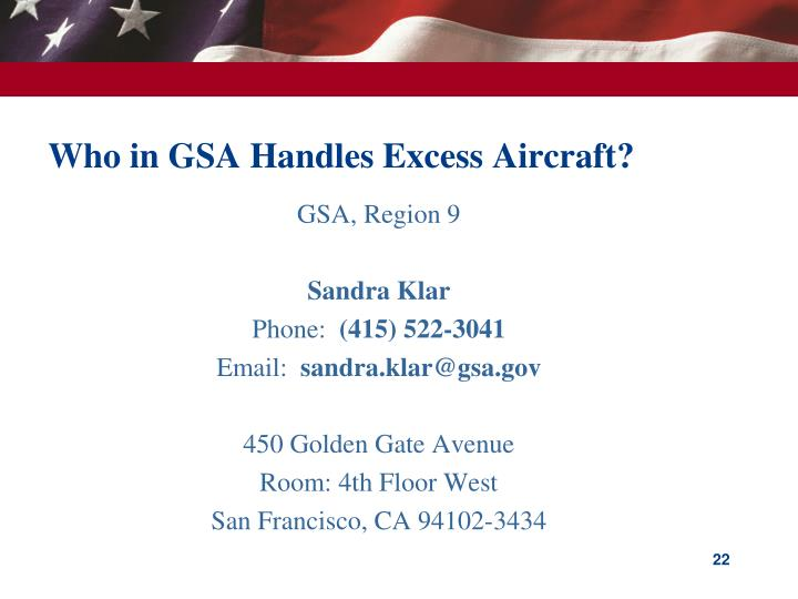 Who in GSA Handles Excess Aircraft?