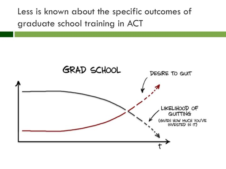 Less is known about the specific outcomes of graduate school training in ACT