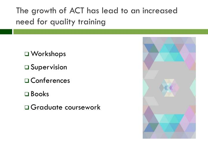 The growth of act has lead to an increased need for quality training