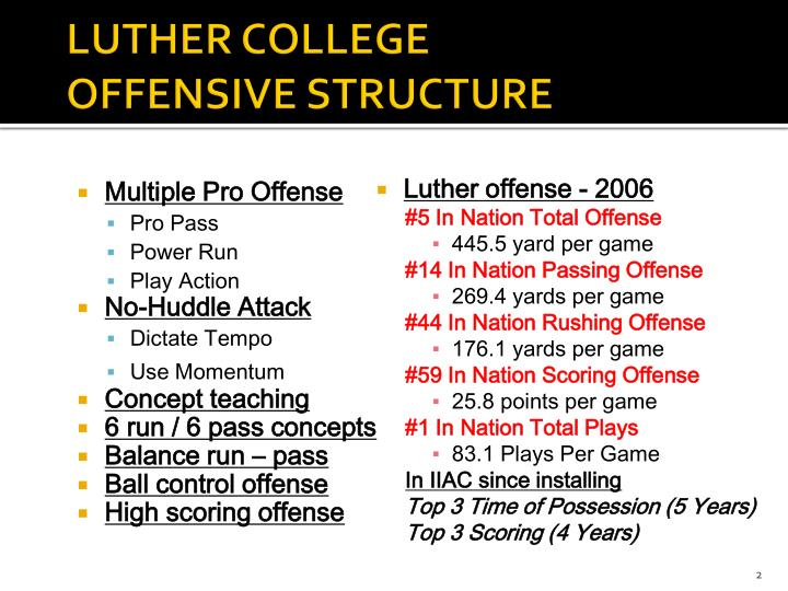 Luther college offensive structure