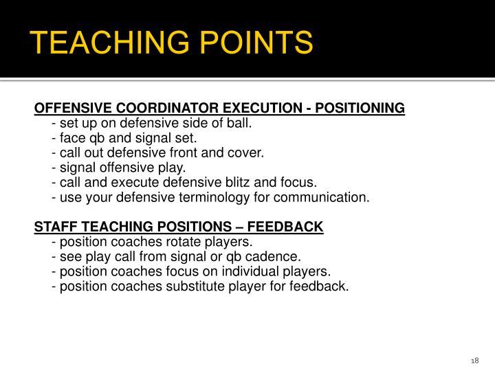 TEACHING POINTS