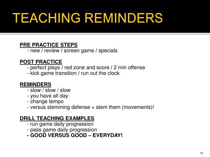 TEACHING REMINDERS