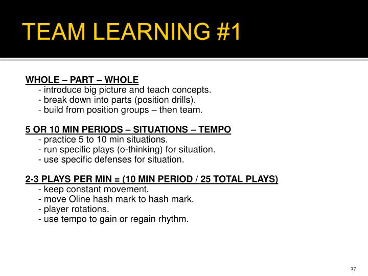 TEAM LEARNING #1