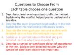 questions to choose from each table choose one question