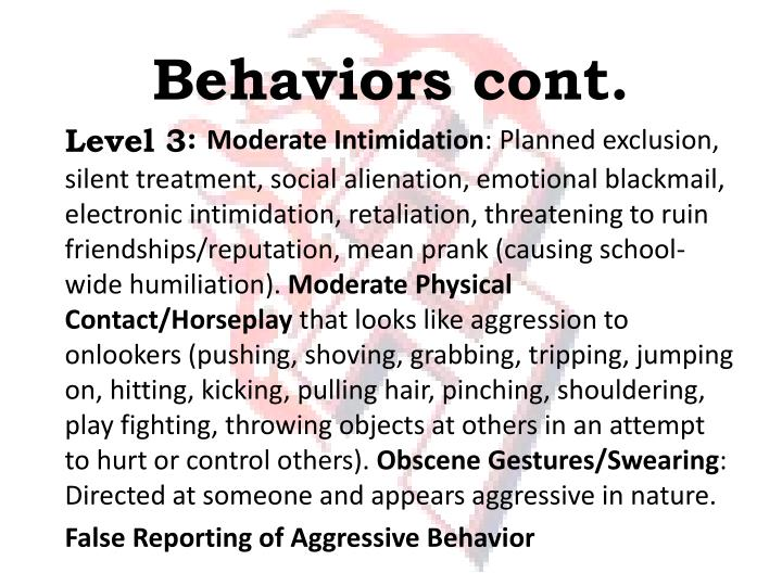 Behaviors cont.
