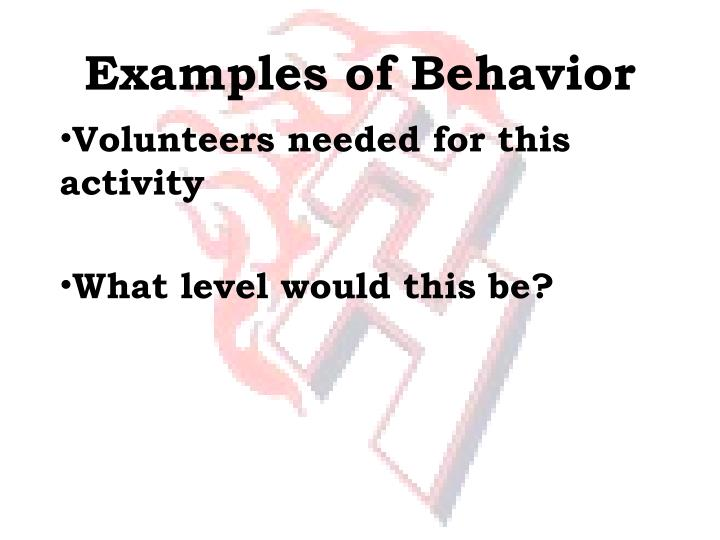 Examples of Behavior