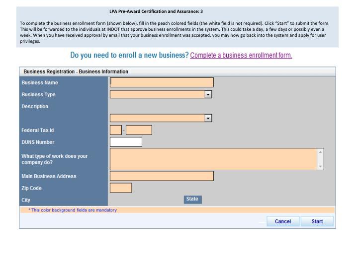 LPA Pre-Award Certification and Assurance