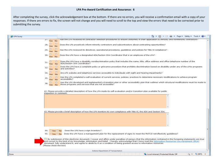LPA Pre-Award Certification and Assurance:  6