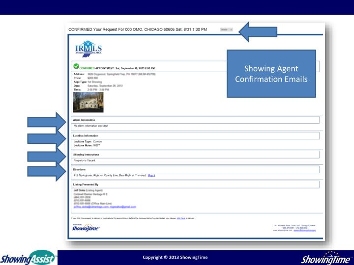 Showing Agent Confirmation Emails