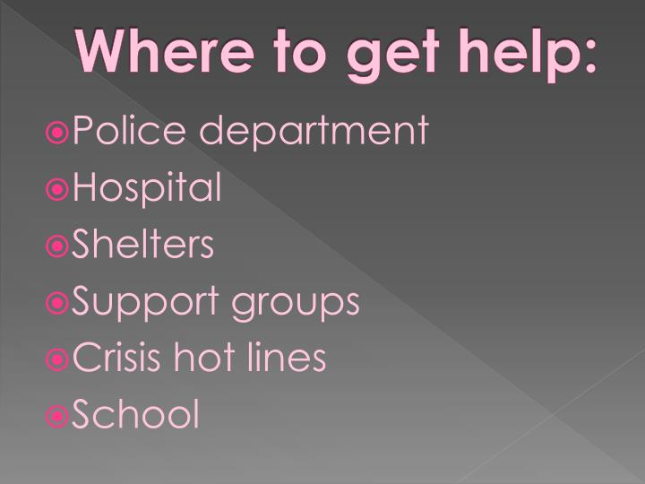 Where to get help: