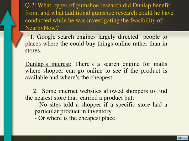 Q.2: What  types of gumshoe research did Dunlap benefit from, and what additional gumshoe research c...