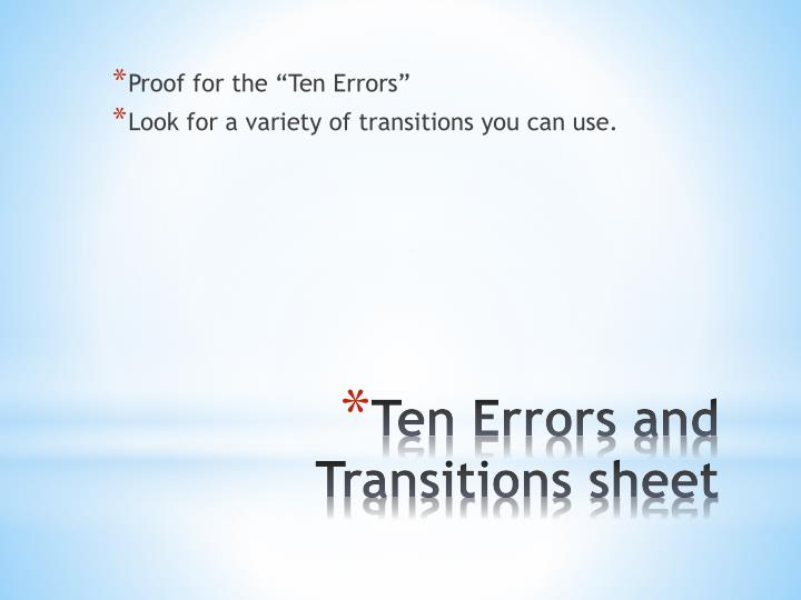 """Proof for the """"Ten Errors"""""""