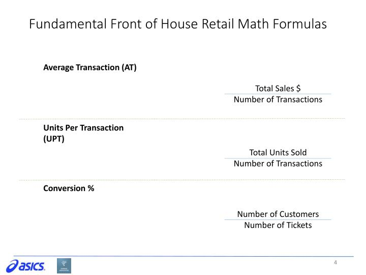 Fundamental Front of House Retail Math Formulas